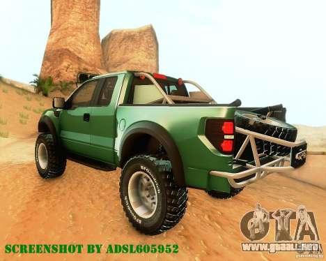 Ford F150 2011 SVT RapTor para GTA San Andreas vista hacia atrás