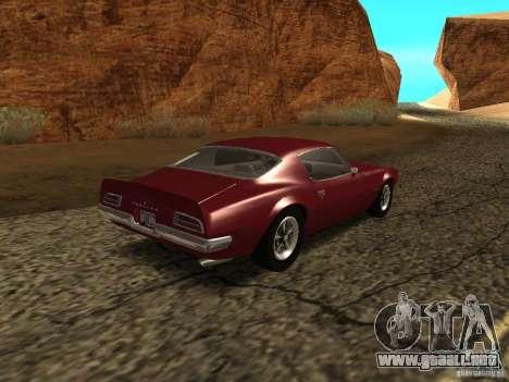 Pontiac Firebird 1970 para GTA San Andreas vista posterior izquierda