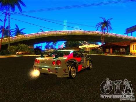 Nissan Skyline R34 Nismo para GTA San Andreas left