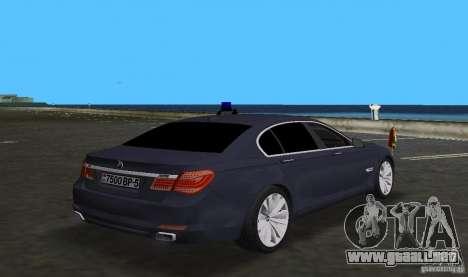 BMW 750 Li para GTA Vice City vista posterior