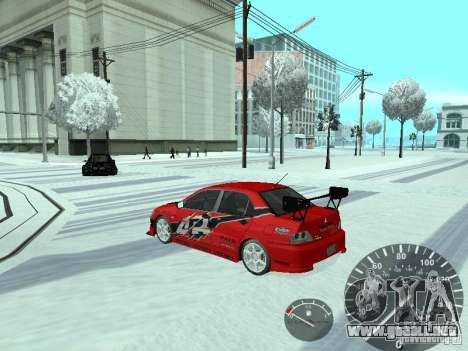 Mitsubishi Lancer Evolution 8 FQ400 para la vista superior GTA San Andreas