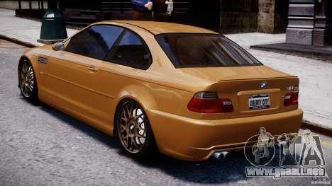 BMW M3 E46 Tuning 2001 v2.0 para GTA 4 Vista posterior izquierda