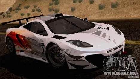 McLaren MP4-12C Speedhunters Edition para GTA San Andreas vista posterior izquierda