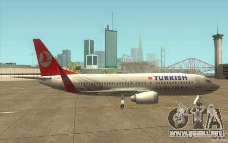 Boeing 737-800 THY para GTA San Andreas vista posterior izquierda
