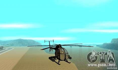AH-6C Little Bird para GTA San Andreas vista hacia atrás