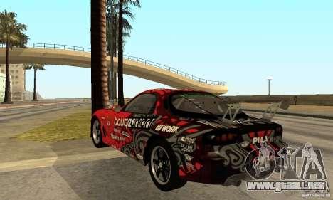 Mazda RX-7 FD3S para GTA San Andreas vista posterior izquierda