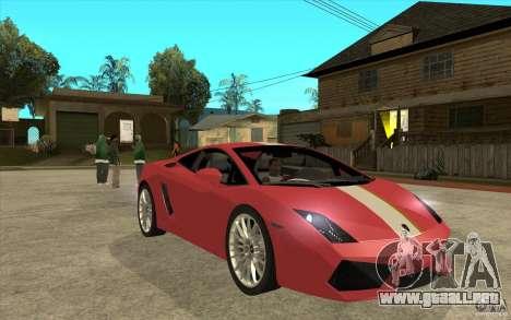Lamborghini Gallardo LP550 Valentino Balboni para GTA San Andreas vista hacia atrás