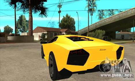 Lamborghini Reventon para GTA San Andreas vista posterior izquierda
