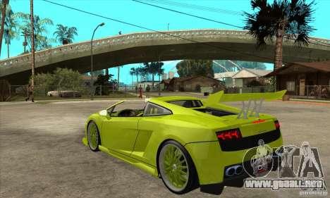 Lamborghini Gallardo LP560-4 Hamann para GTA San Andreas vista posterior izquierda