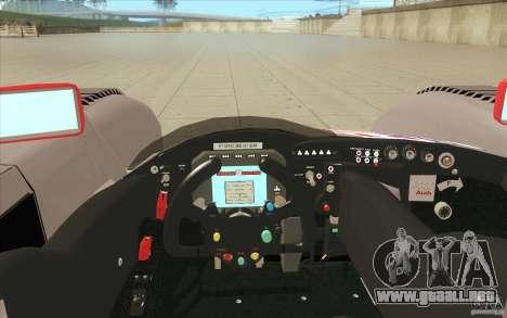 Audi R10 LeMans - Stock para la vista superior GTA San Andreas