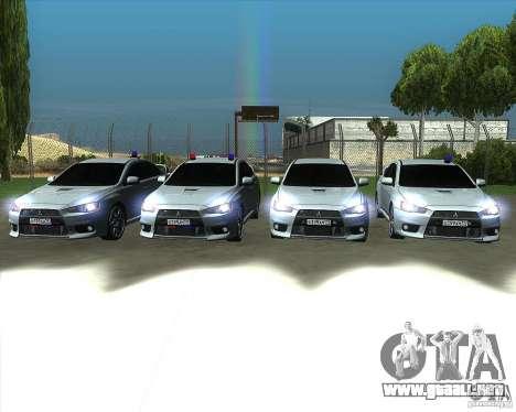 Mitsubishi Lancer Evolution X MR1 v2.0 para la vista superior GTA San Andreas
