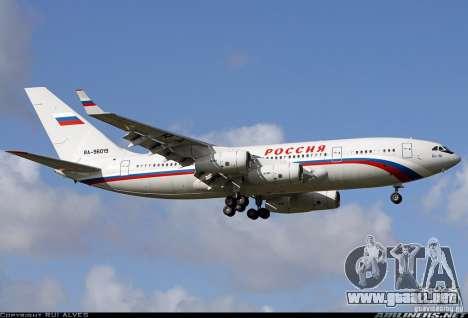 El IL-96-300 STC Rusia para GTA San Andreas vista hacia atrás