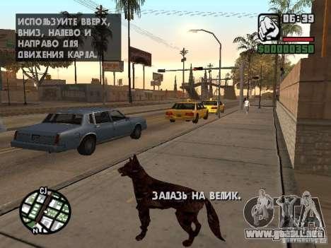 Cerberus de Resident Evil 2 para GTA San Andreas sucesivamente de pantalla