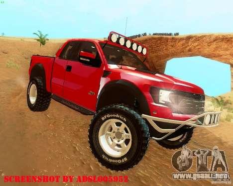 Ford F150 2011 SVT RapTor para la visión correcta GTA San Andreas