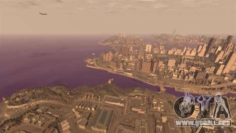 El color púrpura del agua para GTA 4 adelante de pantalla