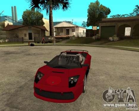 Lamborghini Murcielago SHARK TUNING para GTA San Andreas vista hacia atrás