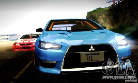 Mitsubishi Lancer Evo X Tuned para la vista superior GTA San Andreas