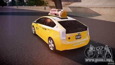 Toyota Prius LCC Taxi 2011 para GTA 4 Vista posterior izquierda