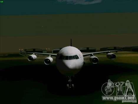 Airbus A-340-600 Singapore para GTA San Andreas vista hacia atrás
