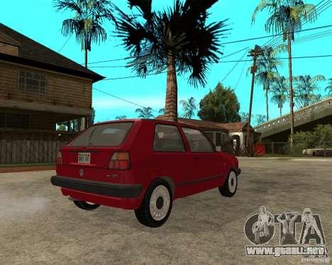 Volkswagen Golf Mk.II para GTA San Andreas vista posterior izquierda