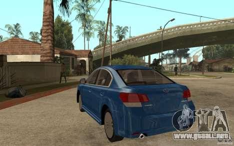 Subaru Legacy B4 2.5GT 2010 para GTA San Andreas vista posterior izquierda