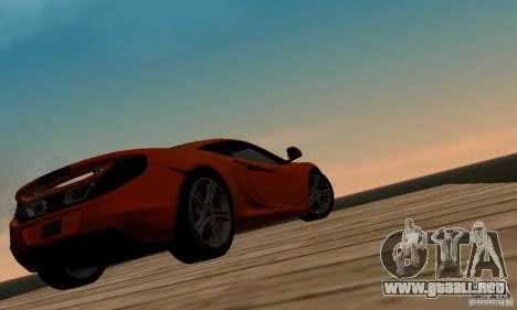 McLaren MP4-12C para GTA San Andreas vista hacia atrás