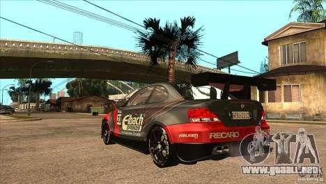 BMW 135i Coupe GP Edition Skin 2 para GTA San Andreas vista posterior izquierda