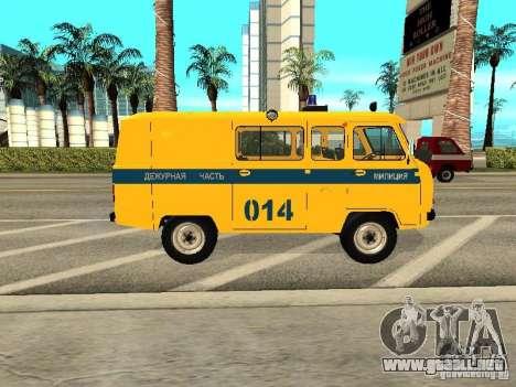 Policía 2206 UAZ para GTA San Andreas vista posterior izquierda
