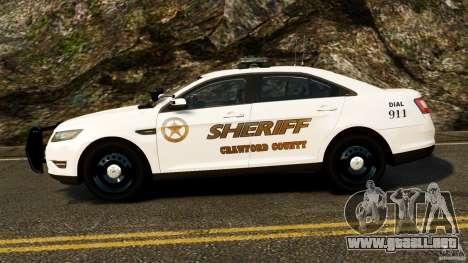 Ford Taurus 2010 CCSO Police [ELS] para GTA 4 left