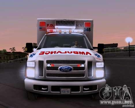 Ford F-350 F.D.N.Y para GTA San Andreas vista hacia atrás