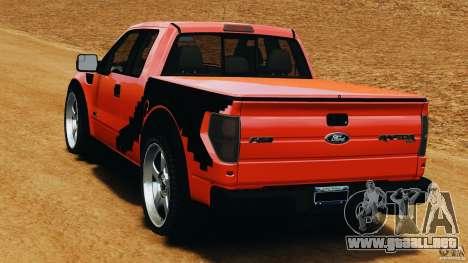 Ford F-150 SVT Raptor para GTA 4 Vista posterior izquierda