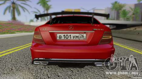 Mercedes Benz C63 AMG Black Series 2012 para la vista superior GTA San Andreas