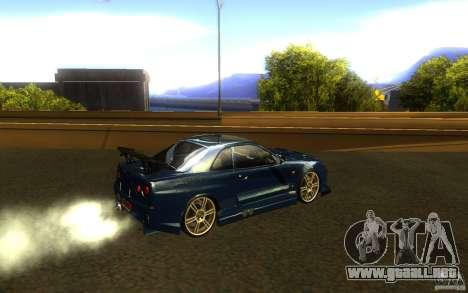 Nissan Skyline GTR R34 para la visión correcta GTA San Andreas