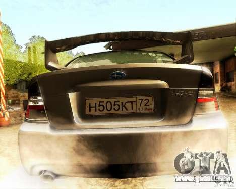 Subaru Legacy 3.0 R tuning para visión interna GTA San Andreas
