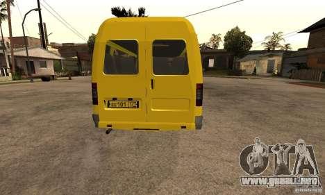 Minibús Gazelle 32213 Novosibirsk para GTA San Andreas vista hacia atrás