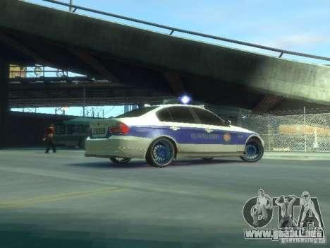 BMW 320i Police para GTA 4 vista hacia atrás