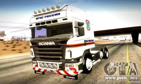 Scania R620 Emercom de Rusia para vista lateral GTA San Andreas