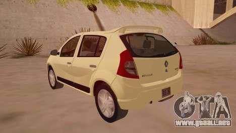Renault Sandero para GTA San Andreas vista posterior izquierda