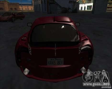 TVR Sagaris para GTA San Andreas vista posterior izquierda