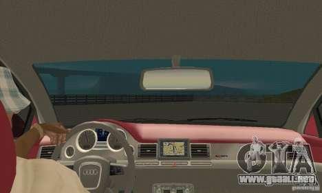 Audi A8L 4.2 FSI para visión interna GTA San Andreas