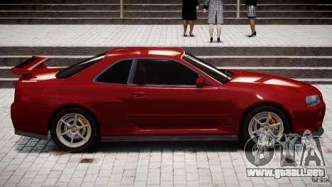 Nissan Skyline GT-R 34 V-Spec para GTA 4 vista desde abajo