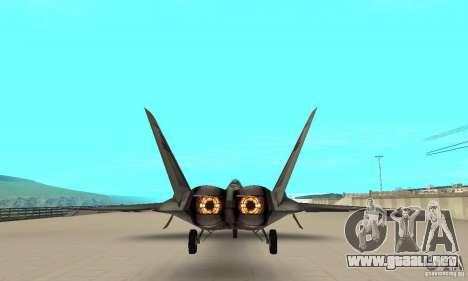 YF-22 Starscream para GTA San Andreas vista hacia atrás