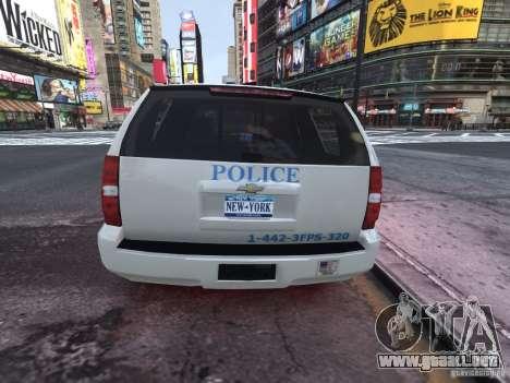 Chevrolet Tahoe Homeland Security para GTA 4 Vista posterior izquierda