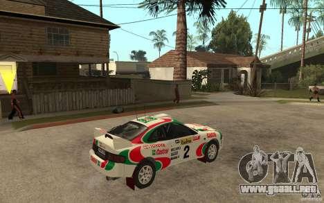Toyota Celica GT4 DiRT para la visión correcta GTA San Andreas