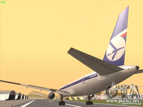 Boeing 767-300 LOT Polish Airlines para visión interna GTA San Andreas