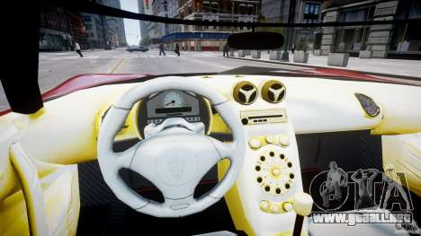 Koenigsegg CCRT para GTA 4 vista hacia atrás