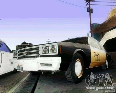 Chevrolet Impala 1986 Taxi Cab para la visión correcta GTA San Andreas
