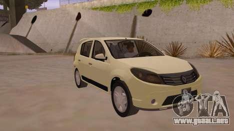 Renault Sandero para GTA San Andreas vista hacia atrás