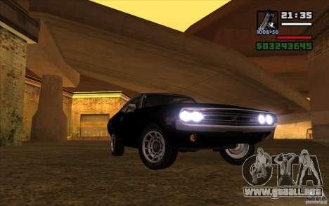 Dodge Challenger 1971 para GTA San Andreas vista hacia atrás