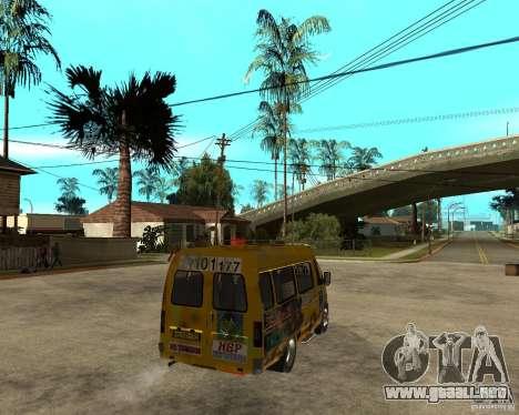 Gaz gacela 2705 Minibus para GTA San Andreas vista posterior izquierda